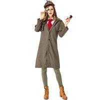 4pcs/set Women Sherlock Holmes Halloween Cosplay Costumes Ladies School Performance Jacket Coat with Hat Scarf Glasses Frame Set