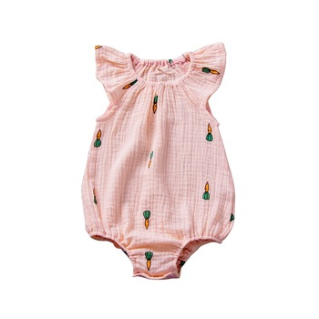 Summer baby's Romper linen cotton pleated Jumpsuit printed cartoon baby's Romper цена 2017