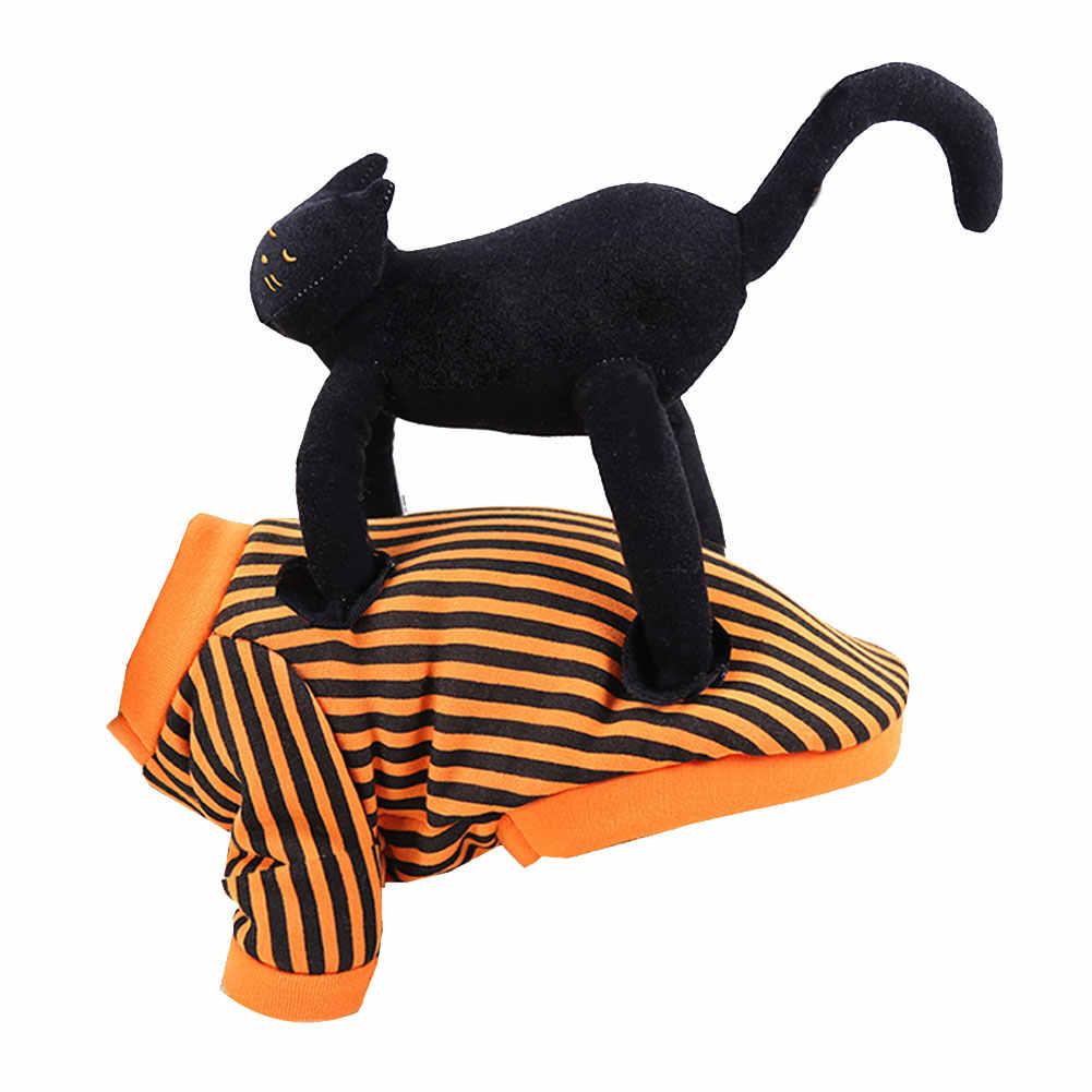 Vêtements pour animaux de compagnie Pet rayé doux confortable t-shirts combinaison avec chat noir sur le dos chien gilet harnais vêtements pour petits chiens chats XL