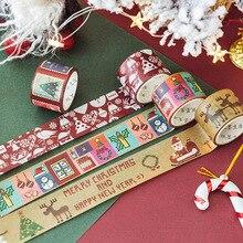 1pc Christmas Gift Holiday Party Decoration Washi Tape DIY Scrapbooking Planner Masking Adhesive Kawaii