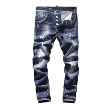 Men Jeans Washed Distressed Flowers Patchwork Stretch Men Denim Jeans Retro Embroidery Cuffs Men Denim Pants Straight jeans