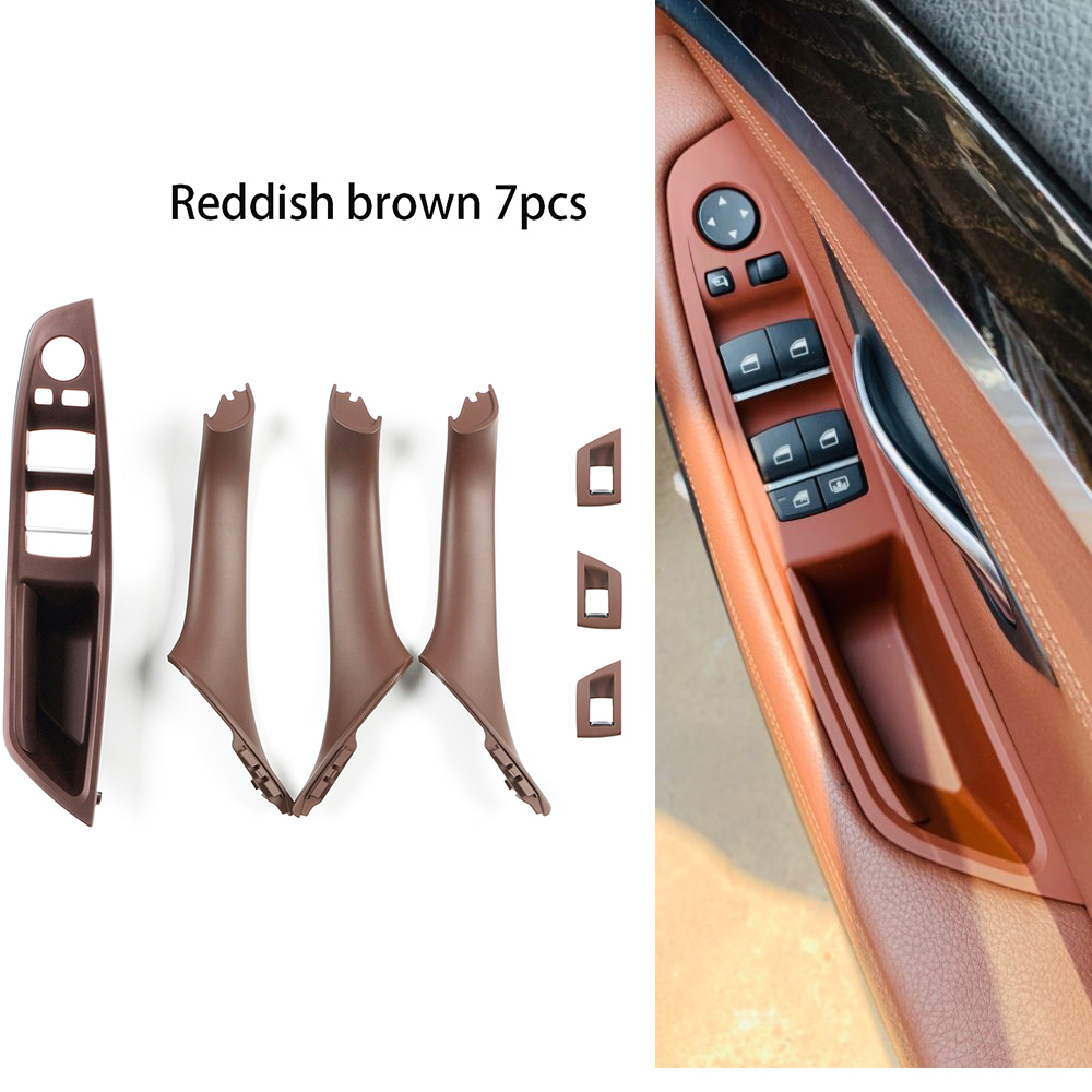 7PCS Right Hand Drive RHD For BMW 5 series F10 F11 520 525 Wine Car Interior Door Handle Inner Panel Pull Trim Cover Armrest