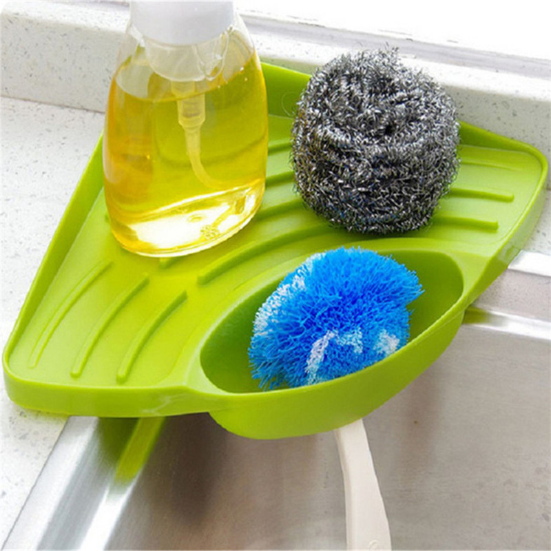 TTLIFE Plastic Sink Storage Rack Bathroom Soap Holder Tray Kitchen Sponge Shelf Shelf Leakage Shelf Sponges Kitchen Sink Corner
