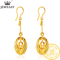 JJL 24K Pure Gold Earring Real AU 999 Solid Gold Earrings Nice Hollow Ball Tassel Upscale Trendy Fine Jewelry Hot Sell New 2019