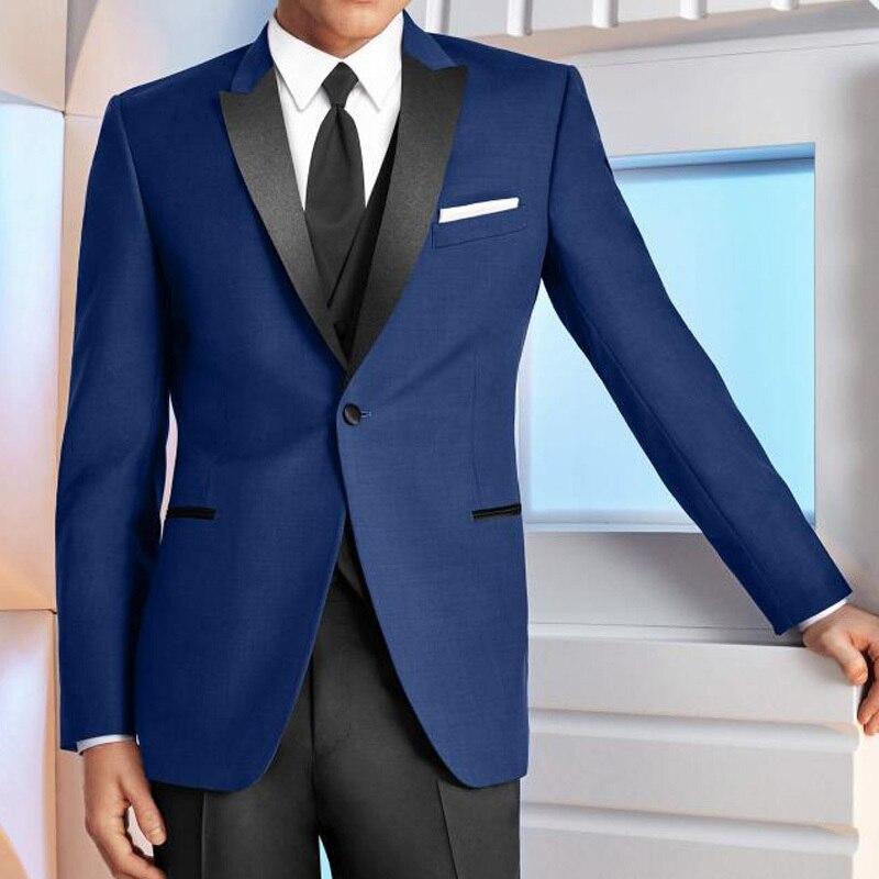2020 Blue Wedding Groomsmen Tuxedos Black Peaked Lapel Three Piece Business Party Men Suits Custom Made Jacket Pants Vest