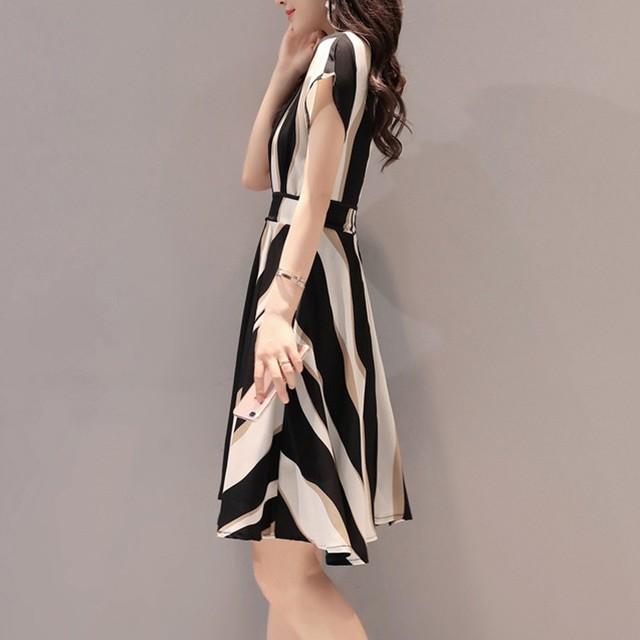 Women's Elegant Dress Fashion Overalls Belt O-neck Short-sleeved A-line Knee-length Dress Ladies Business Dress Korean Dress#5