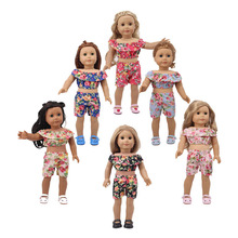 2020 New Floral Short Sleeve Short New Born Baby Doll Clothes for 18