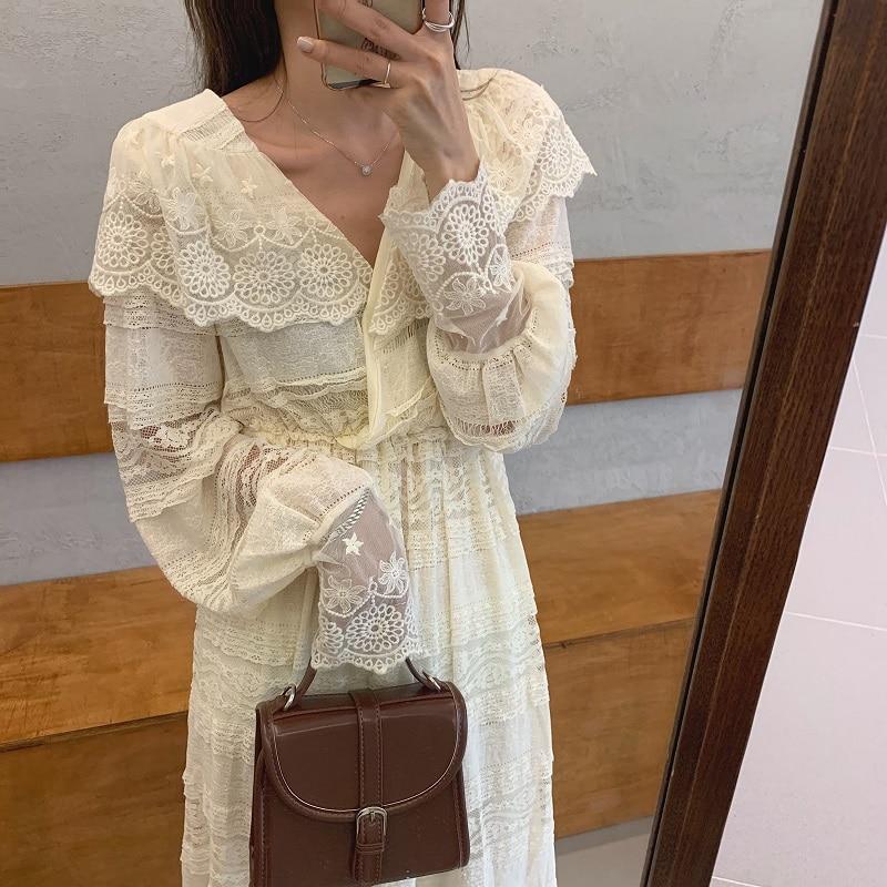 H94f7d177a01146eba335e97a36ea6de5H - Spring V-Neck Long Sleeves Long Lace Midi Dress