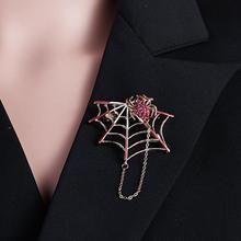 Halloween Women Brooch Pin Spider Cobweb Rhinestone Inlaid Brooch Pin Women Shirt Jacket Badge Woman's accesories rhinestone faux gem halloween spider brooch
