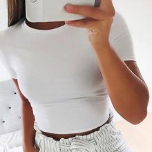 2020 kobiet lato z krótkim rękawem blisko dopasowane krótka koszula koszulka Slolid siłownia damska koszulka na co dzień biały czarny szary tanie tanio COTTON Poliester REGULAR Suknem Stałe 51D6 NONE Wieku 16-28 lat O-neck