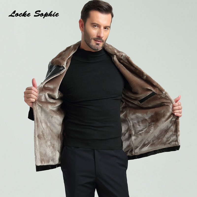 1pcs Men's Locomotive Jacket Blazers 2019 Winter Faux PU Leather Button Splicing Cashmere Keep Warm Men Skinny Jackets Coats