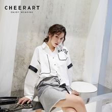 Cheerart Oversized Blouse White Long Sleeve Loose Shirt Asymmetrical Designer Top Color Block Autumn Blouse Clothing color block long sleeve applique shirt