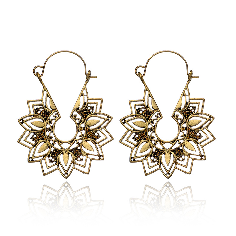 H94f81226eab6462b83b3a71e5d72f05c9 - Tibetan Silver Color Color Carved Flower Vintage Ethnic Drop Dangle Earrings Retail Jewelry Jewellery Gift For Women