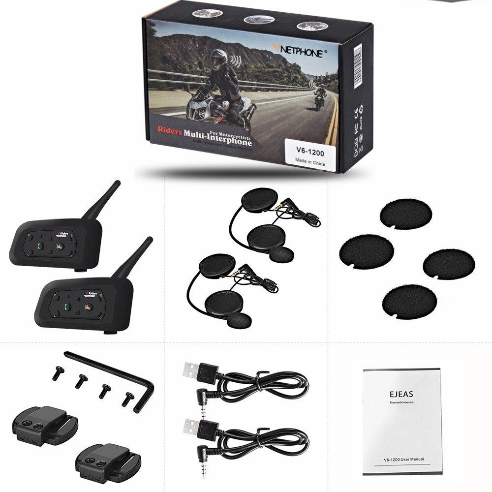 2PCS V6 Intercom Motorcycle Bluetooth Helmet Headsets Interphone For 6 Riders 1200M Waterproof Wireless Moto Intercomunicador