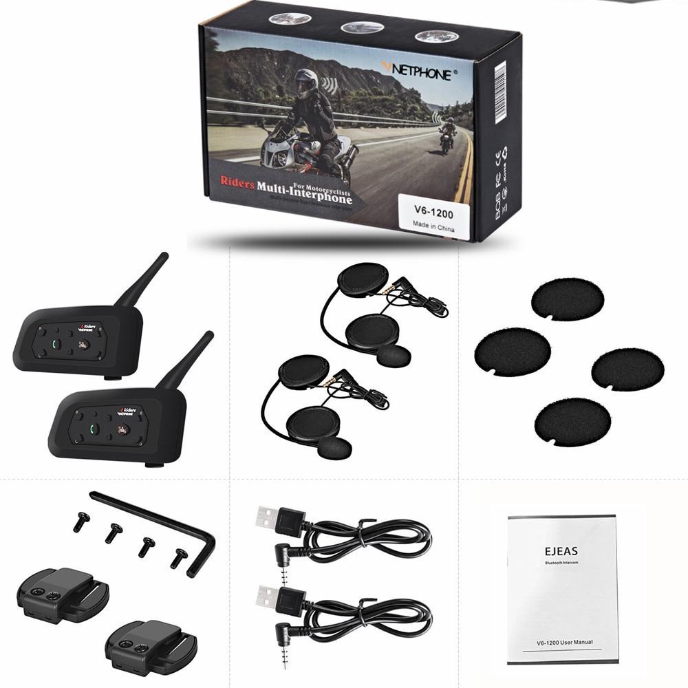 2PCS V6 Intercom Motorrad Bluetooth Helm Headsets Sprech Für 6 Fahrer 1200M Wasserdichte Drahtlose Moto Intercomunicador