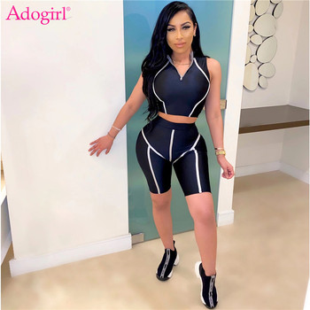 Adogirl S-2XL Stripe Patchwork Athleisure Two Piece Set Women Tracksuit Sleeveless Crop Top Tight Shorts Gym Fitness Sportswear цена 2017