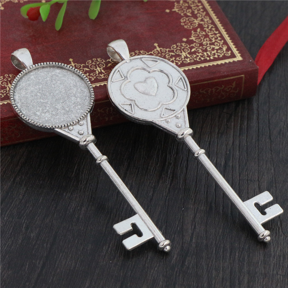 New Fashion 3pcs 25mm Inner Size Antique Silver Plated Heart Key Style Cabochon Base Setting Charms Pendant (A6-21)