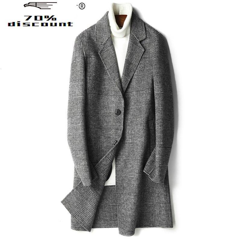Autumn Winter Long Wool Coat Men Vintage Plaid Overcoat Korean Slim Cashmere Coats Casaco Masculino G-29-0823-2 ZL392