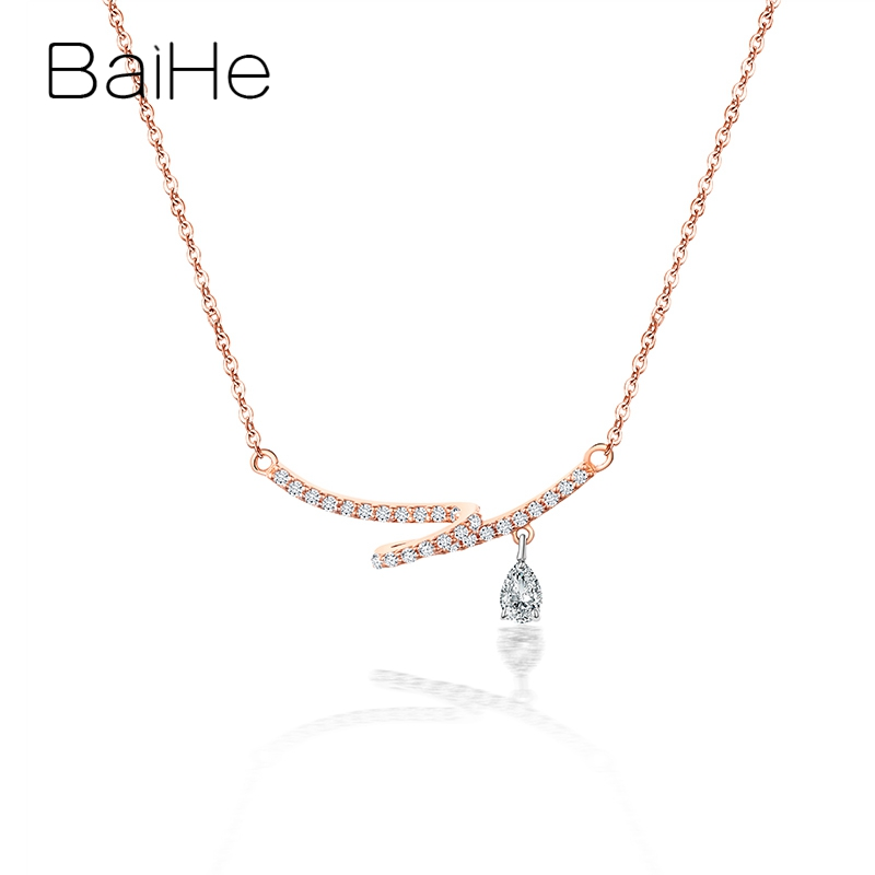 BAIHE Solid 18K Rose Gold Certified Round + Pear H/SI 0.24ct Natural Diamonds Jewelry Wedding Trendy unique Fine Gift Necklaces