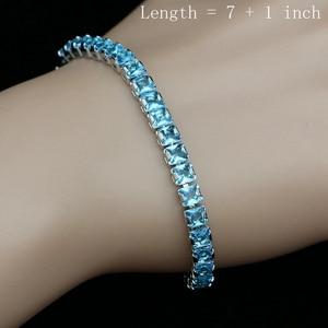 Image 3 - Himmel Blau Zirkonia Silber 925 Schmuck Sets Für Frauen Hochzeit Armband Anhänger Ohrringe Halskette Braut Schmuck Sets