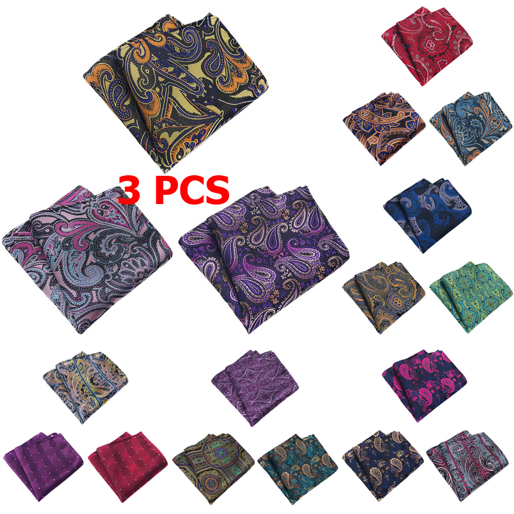 3 PCS Men Paisley Flower Grid Pocket Square Handkerchief Wedding Party Hanky