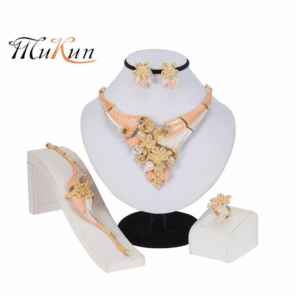 MUKUN New Dubai Gold Jewelry Sets Bridal Necklace/Earrings/Ring/Bracelet Fashion Wedding Jewelry Nigerian Jewelry Set for Women