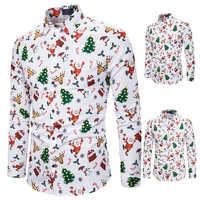 Camisa de manga larga con estampado para hombre, camisa masculina de manga larga con estampado de dibujos animados, camisa de Navidad, banquete, vacaciones