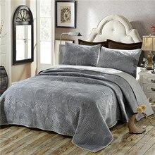 豪華な綿キルトセット 3 個ヤシの葉刺繍キルトのベッドカバーベッドカバーシーツ枕カバーセットキングサイズ