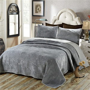 Image 1 - Plush Cotton Quilt Set 3PCS Palm Leaves Embroidery Quilted Bedspread Bed cover sheets Pillowcase Coverlet Set King Size