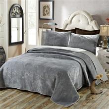 Zamsz bawełna zestaw kołder 3 sztuk liście palmowe hafty narzuta pikowana narzuta arkuszy poszewka na poduszkę okładka zestaw duży rozmiar