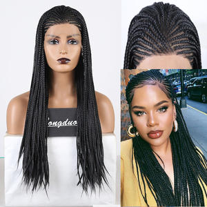 RONGDUOYI Box Braids Wigs Lace-Wig Side-Part Black Hair Cosplay Synthetic Women Heat-Resistant