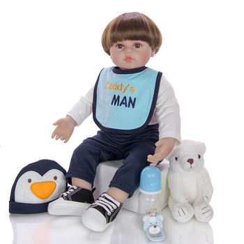 "Boneca reborn toddler menino real baby doll 24""60cm DIY Dressup silicone vinyl boy dolls for children gift"