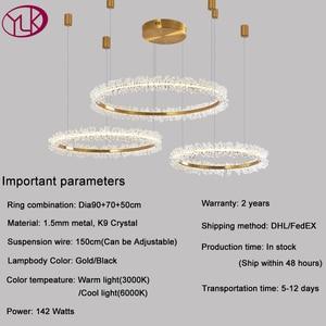 Image 3 - Modern crystal chandelier lighting for living room gold ring combination led chandeliers home decoration lustre cristal lamps