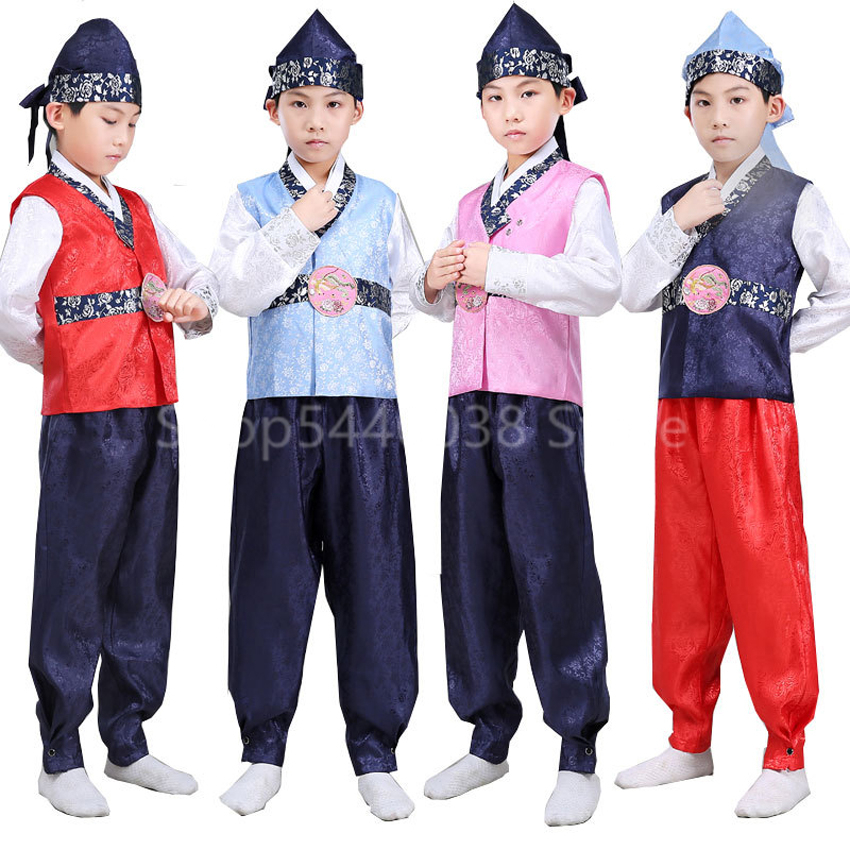 Kid Traditional Korean Style Clothes Boy Satin Minority Orthodox Hanbok Court Palace Embroidery Performance Dance Cotume Cosplay