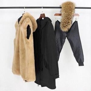 Image 5 - Oftbuy防水リアルファーコートのxロングパーカー冬のジャケットの女性天然フォックス毛皮の襟フード厚く暖かい上着取り外し可能な新