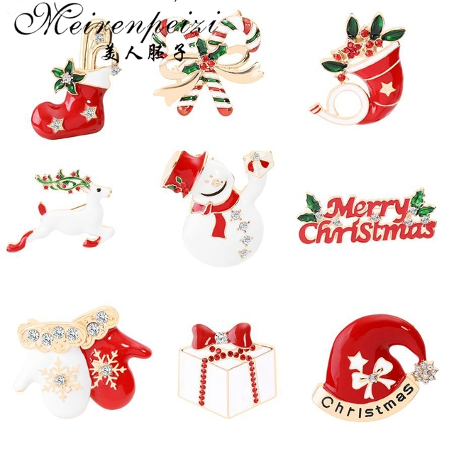 Meirenpeizi Merry Christmas Brooches Pins Cute Santa Claus Hat gloves Bells Socks Donuts Candy Enamel Pin Badges Brooch