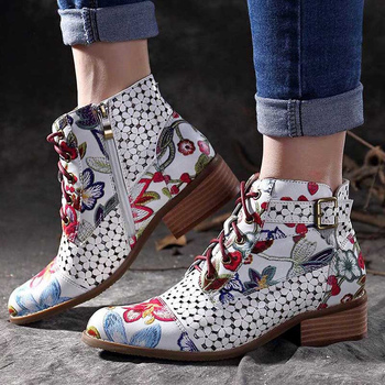 2020 Women Zipper Boots Flower Print Ankle Fashion Pointed toe Ladies Sexy shoes socofy designer boots Sturdy sole low heel ladies suede comfort low heel ankle boots fashion zipper pointed toe fall winter bootie black red orange