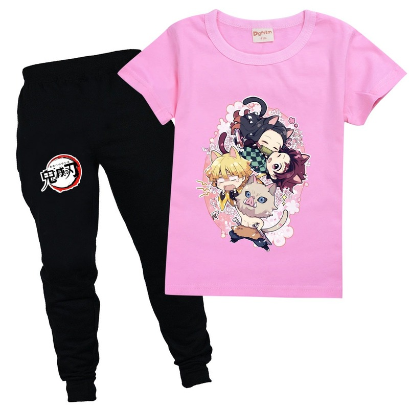 Аниме детская модная одежда милая девочка с лезвием демона новинка набор топов мультяшная футболка с рассеивателем демонов комплект с коро...