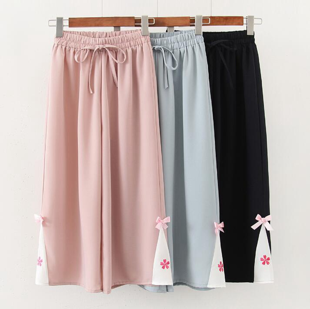 Sweet Loose Chiffon Pants Japan Style Sakura Spring Summer Casual Wide Leg Trousers