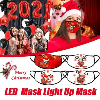 Masker New Year Christmas Glow Mask Led Christmas Mask Light Up Mask Christmas Lights Glowing Mask For Men And Women Maschera #K image
