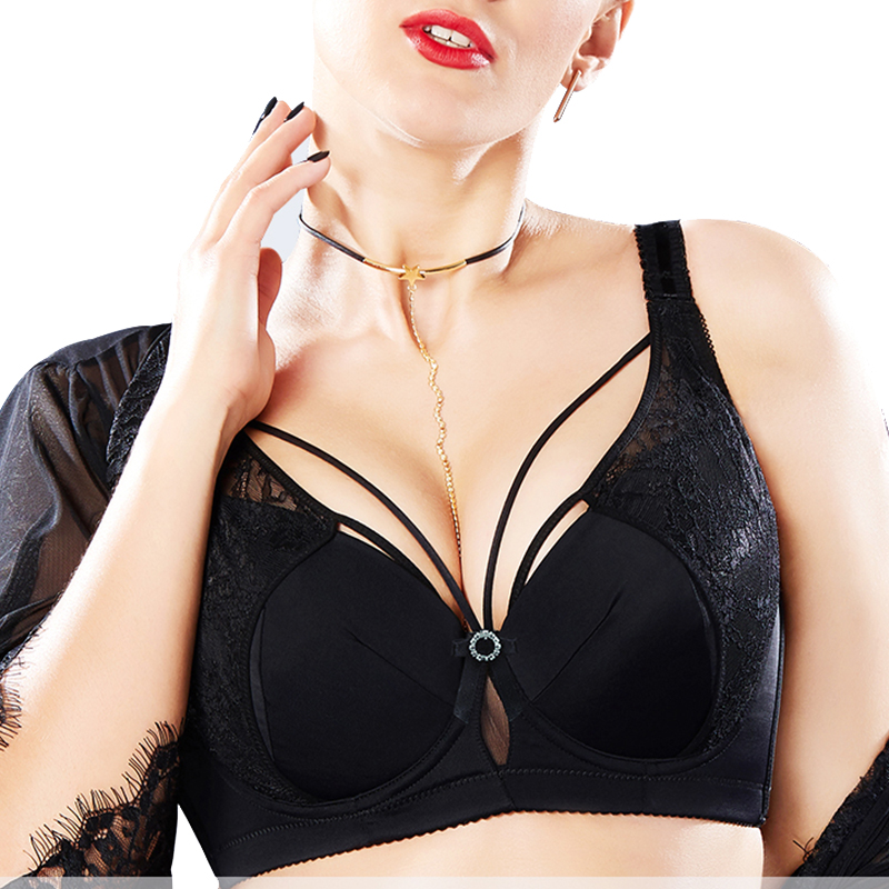 Sexy Women Full Coverage Non-padded Underwire Plus Size Lace Embroidery Suppotive Push Up Bra 34 36 38 40 42 44 46 C D E F G H I