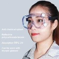 1621 anti-impacto anti-química respingo óculos de segurança proteção contra irradiação policarbonato laboratório pintura vidros