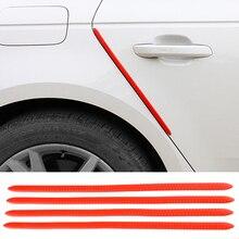 4PCS 40X1.3CM Car Door Edge Protection Rubber Auto Bumper Protector Guard Scratch Sticker White Black Trim Universal Car Styling