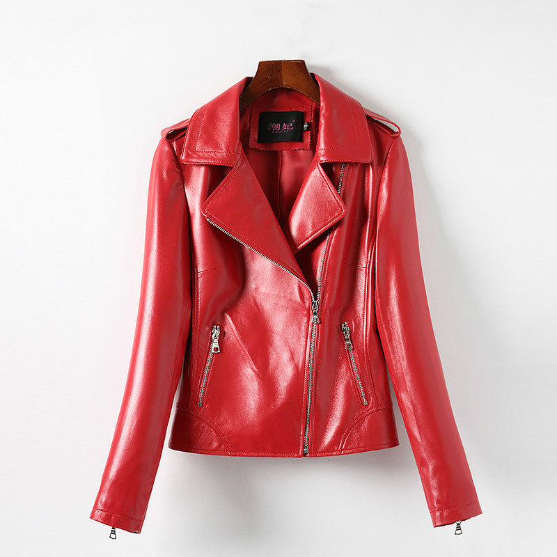 Geniune Leather Jacket For Female Sheepskin Leather Jackets Slim Plus Size 4 XL Spring Autumn Chaqueta Mujer MF170