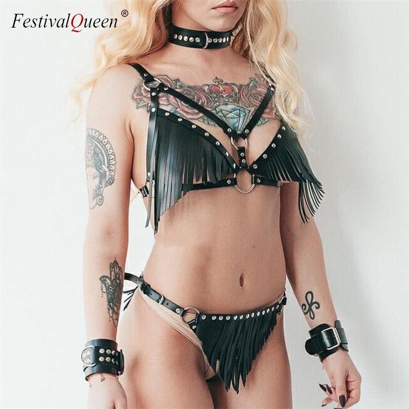 Goth Faux Leder Harness Strumpfband Set Frauen Sexy Dessous Bh Strumpfband Leder Quasten Cover Up Mini Rock Set Party Club outfits
