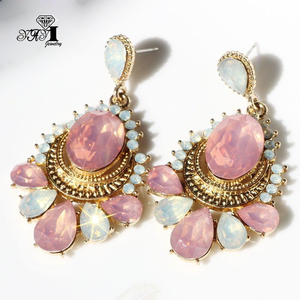 Ювелирные изделия YaYi модная разноцветная стеклянные стразы серьги в виде капель с кристаллами в форме; Одежда для девочек и женщин, древний ...