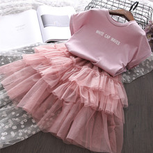 Fashion Girls Clothes Set Summer Shirt and Tutu Skirt Clothing Set for