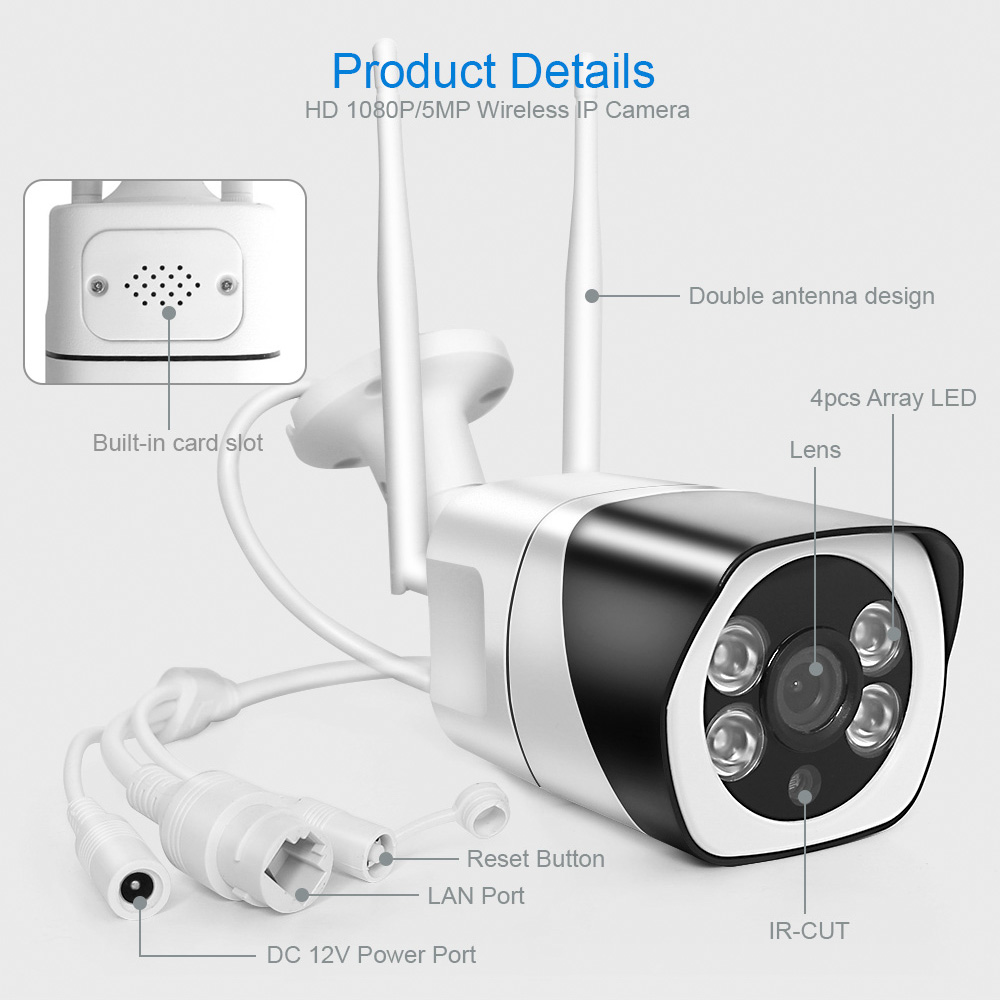 H94f99d6fad0646389ad66f12c1fe171ez HD 5MP Wifi IP Camera ONVIF 1080P Wireless Wired CCTV Bullet Camera Outdoor Two Way Audio TF Card Slot Max 64G IR 20m P2P iCsee