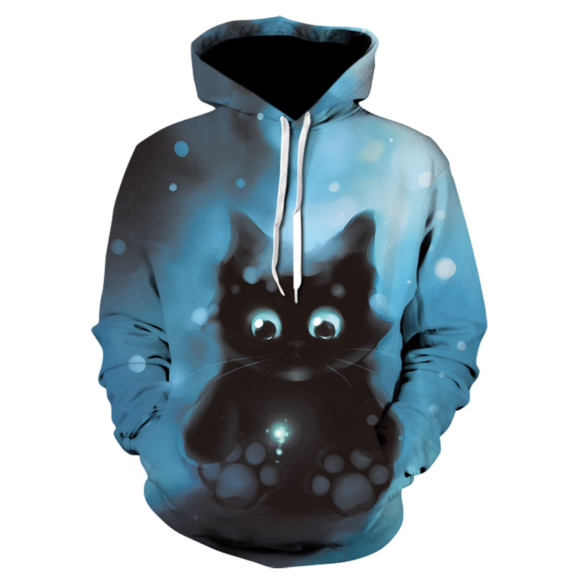 Women's Casual Long Sleeve Sports Hoodie 3D Fantasy Kawaii Cute Animal Cat Thin Jumper For Both Men And Women