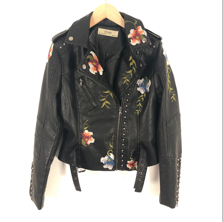 Fashion short Black   Leather   Jacket Coat Women Spring Autumn New Korean Style Slim Heavy Embroidered Zipper Faux   Leather   Jackets